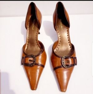 """BCBGirls brown buckle shoes with 2"""" heels"""